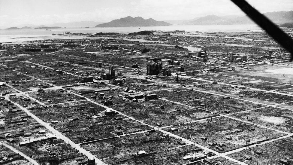 Hiroshima arrasada después de la bomba el 6 de agosto de 1945