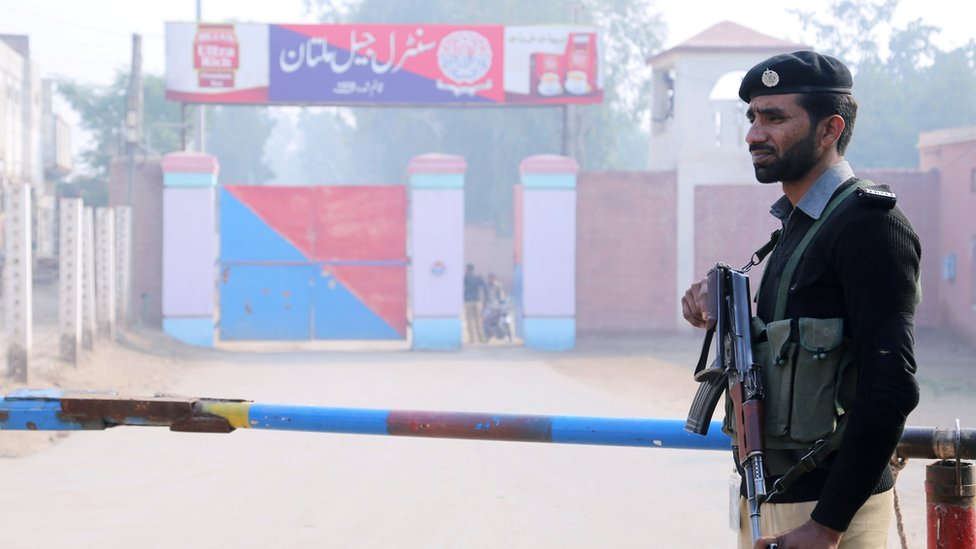 Armed guard outside the Central Jail in Multan