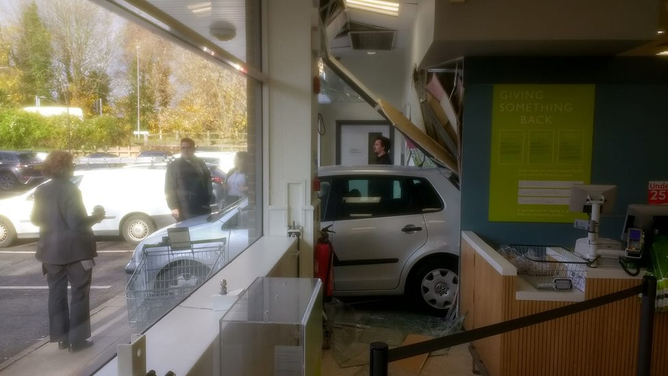 Two injured as car hits Waitrose supermarket
