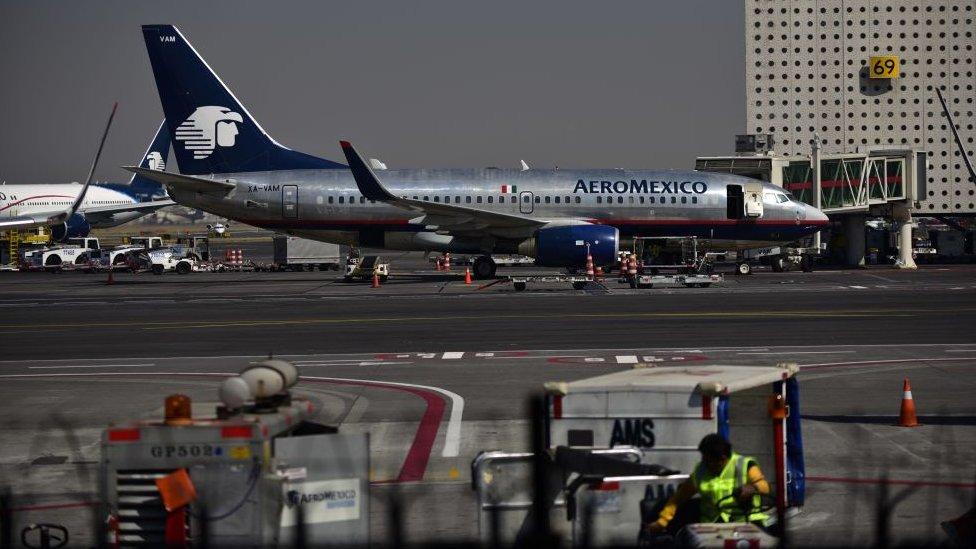 Un avión de Aeroméxico en Ciudad de México