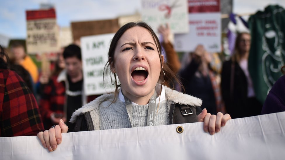 Abortion rights demonstrators marching through Belfast