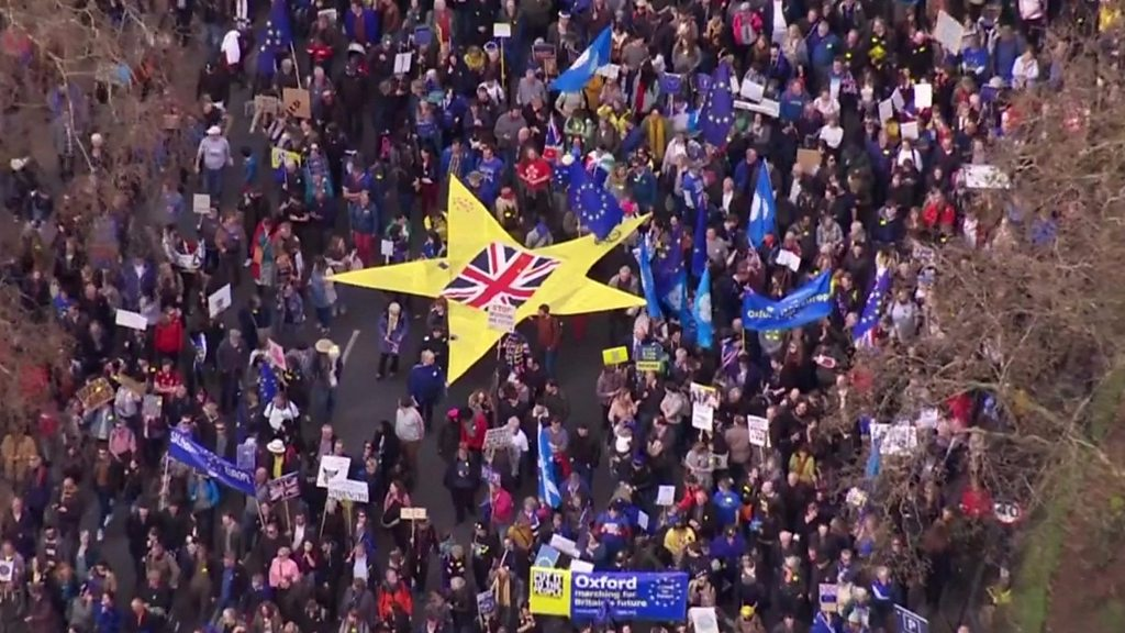 Aerial footage shows scale of Brexit protest