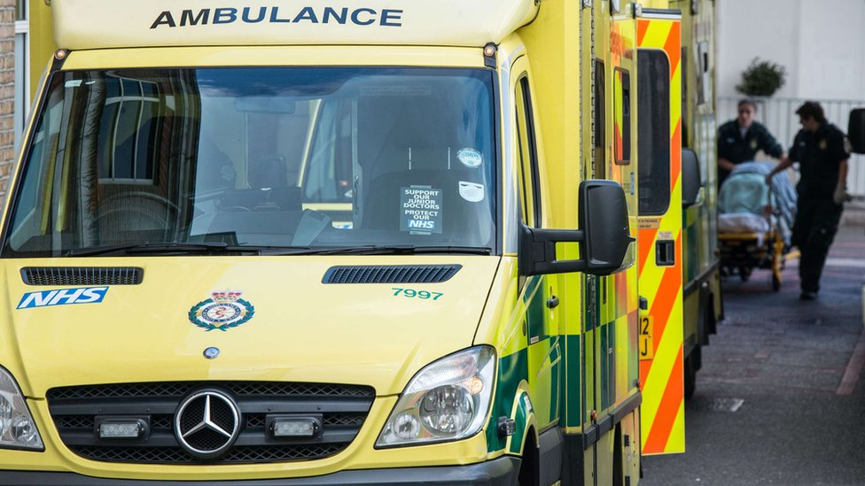 Image of an ambulance arrive at A&E