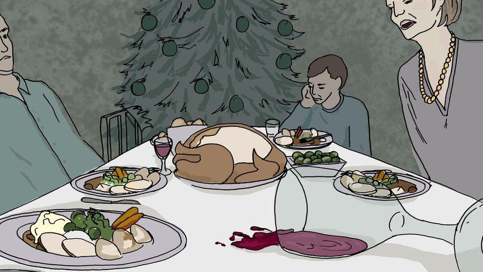 A family arguing over a Christmas dinner