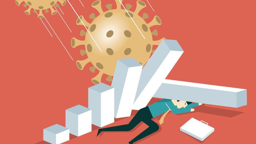 Gráfico que muestra un hombre al que se le caen pilares encima por el ataque del coronavirus