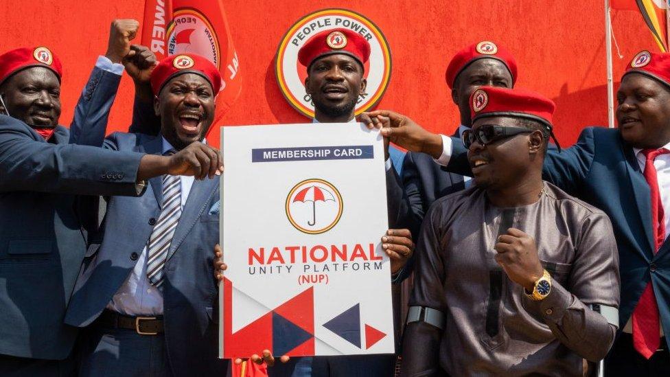 Bobi Wine arrives at nomination centre