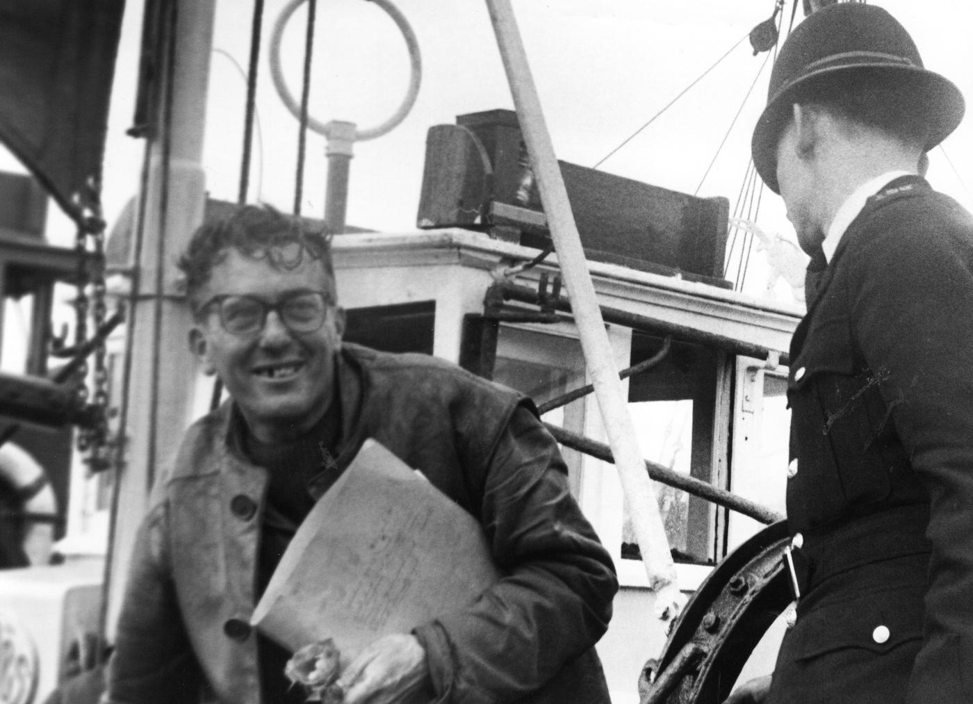 Victor Depaepe arriving in Newhaven, East Sussex