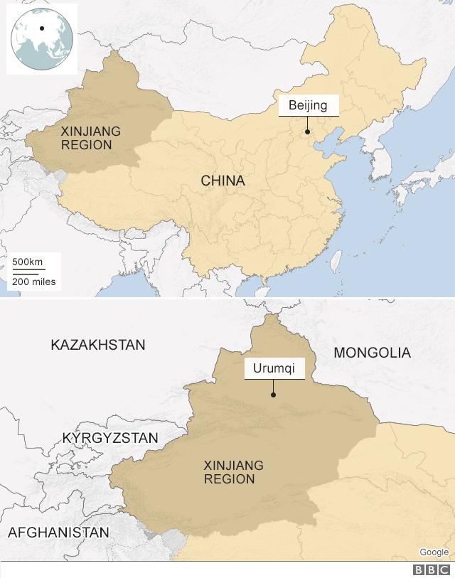 Map of Xinjiang region