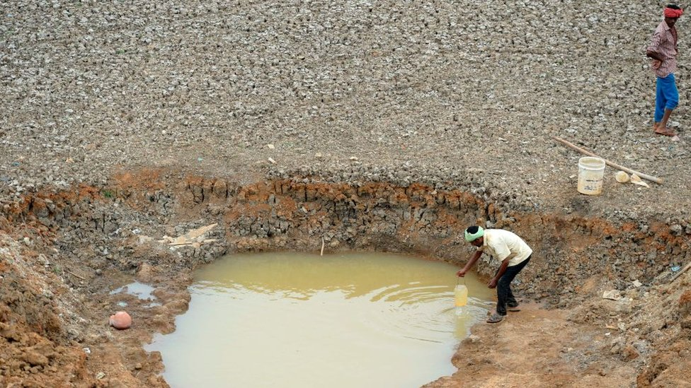 Indian workers collect water from the Puzhal reservoir on the outskirts of Chennai on June 20, 2019. - Water levels in the four main reservoirs in Chennai have fallen to one of its lowest levels in 70 years, according to local media reports