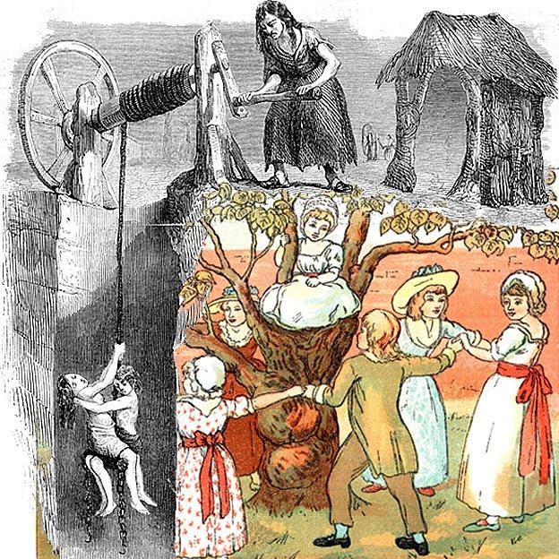Ilustración de niños bajando a una mina de carbón mientras otros juegan