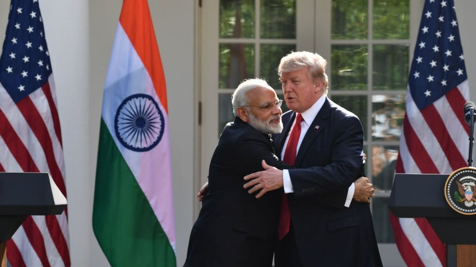 Narendra Modi hugs Donald Trump