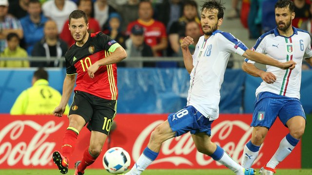 Eden Hazard slides through a pass during Monday's defeat by Italy