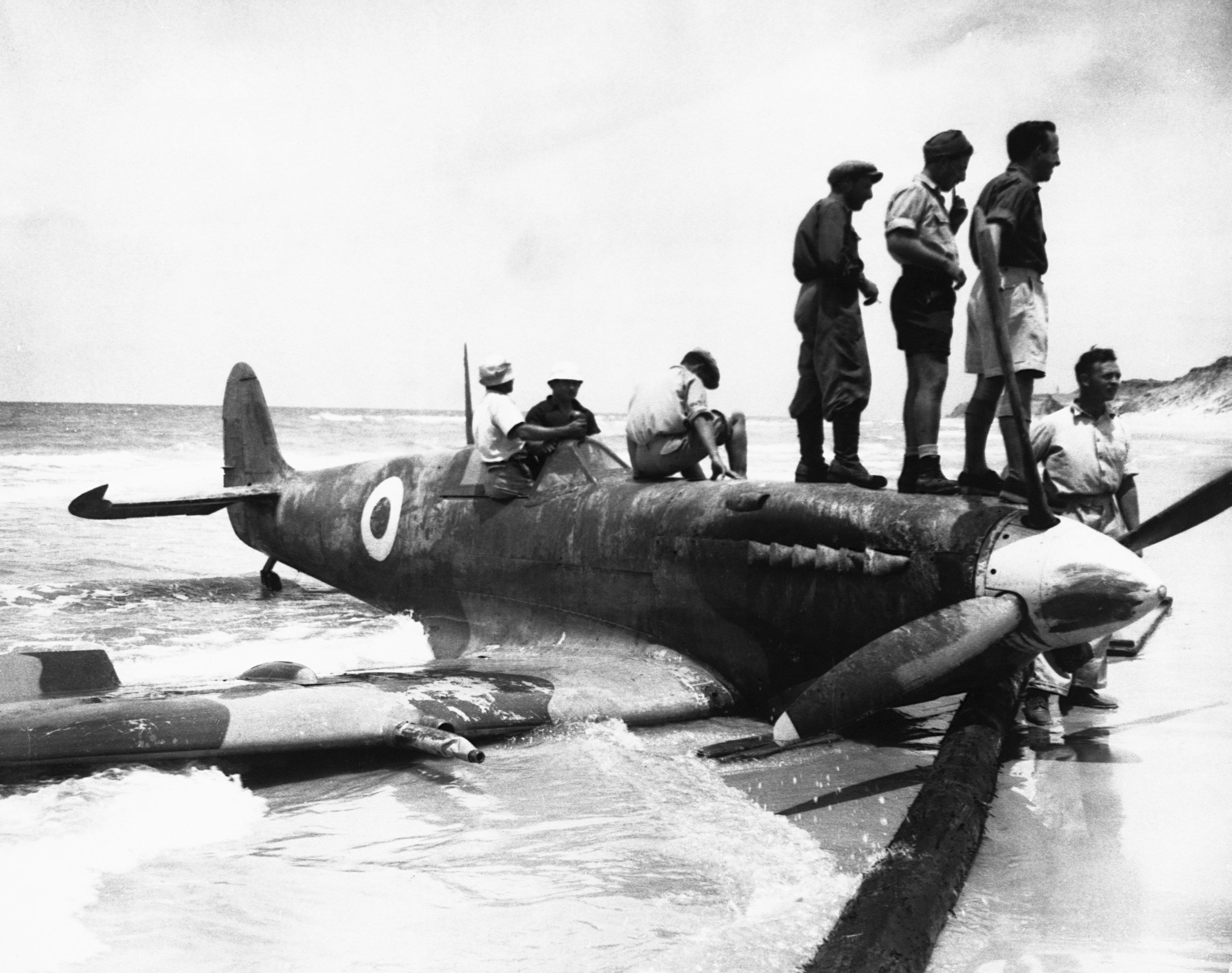 جنود إسرائيليون يقفون على طائرة مصرية أسقطوها خلال الحرب في فلسطين عام 1948.