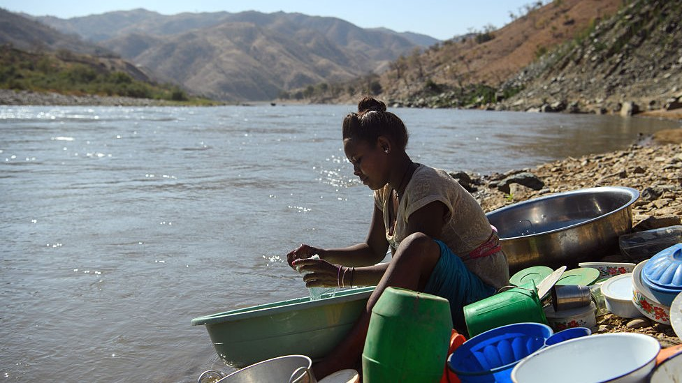 A woman by the Tekeze River in Tigray, Ethiopia - archive shot