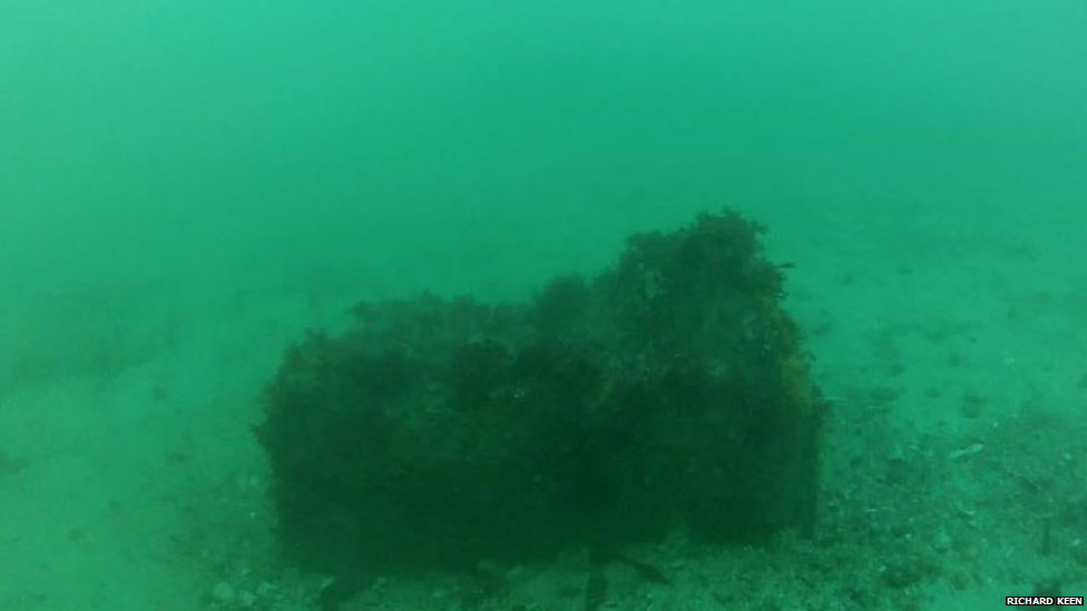 Parachute mine near Castel Cornet, Guernsey, 31 March 2018