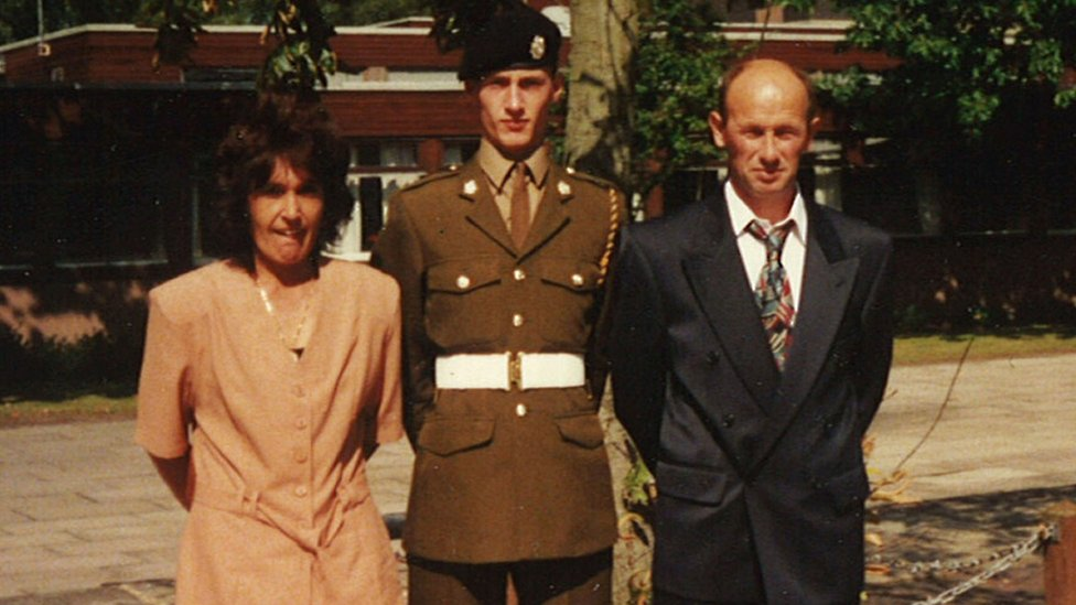 Pte Sean Benton with his parents at his passing out at Pirbright Barracks in 1994