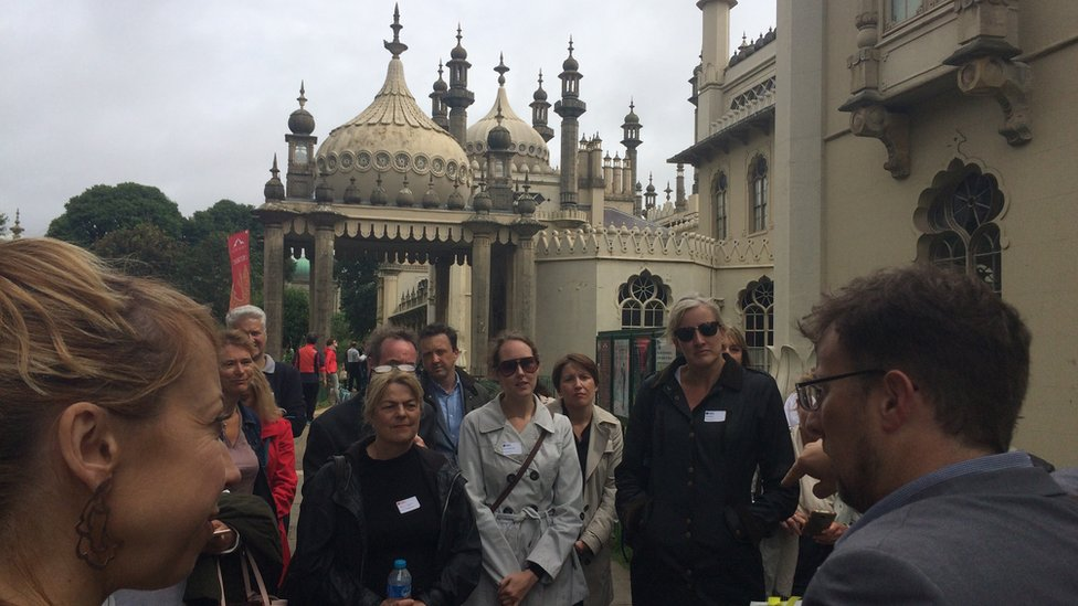 Kevin Newman leads a business history tour in Brighton