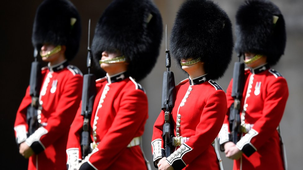 """Members of the Welsh Guards perform in a ceremony to mark Britain""""s Queen Elizabeth""""s official birthday"""