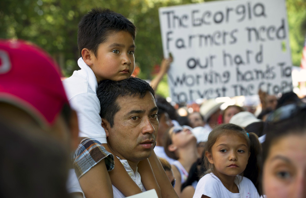2011: Thousands march - a vast number of them reported to be undocumented immigrants, stormed the Georgia Capitol in protest of the state's new Arizona-style immigration law, which took effect July 1.
