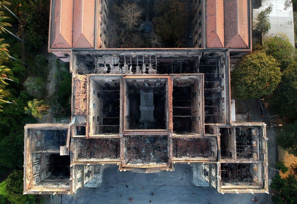 火災後的里約國家博物館俯瞰圖。
