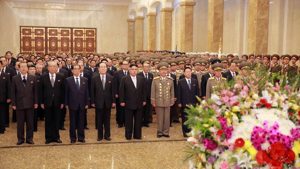 Kim Jong-un visiting the Kumsusan Palace of the Sun in Pyongyang (file, April 2017)