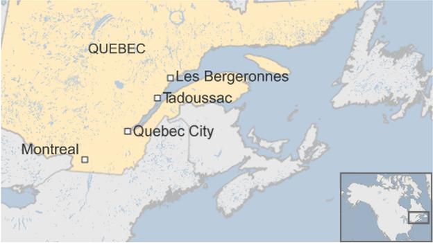 Quebec plane crash region map