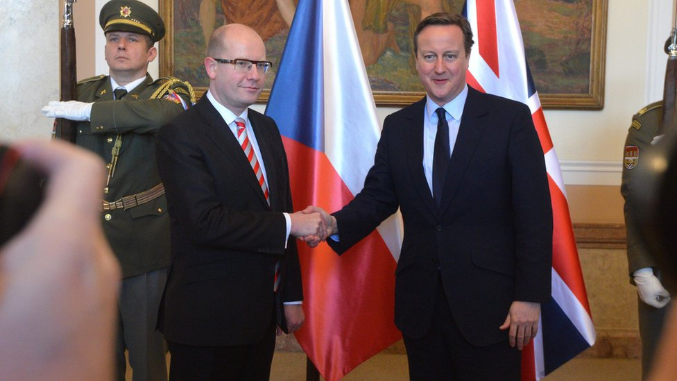 Czech Prime Minister Bohuslav Sobotka (L) shakes hand with his British counterpart David Cameron in Prague