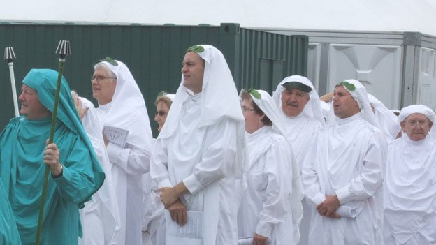 Some of the Eisteddfod's main prize winners in their white robes