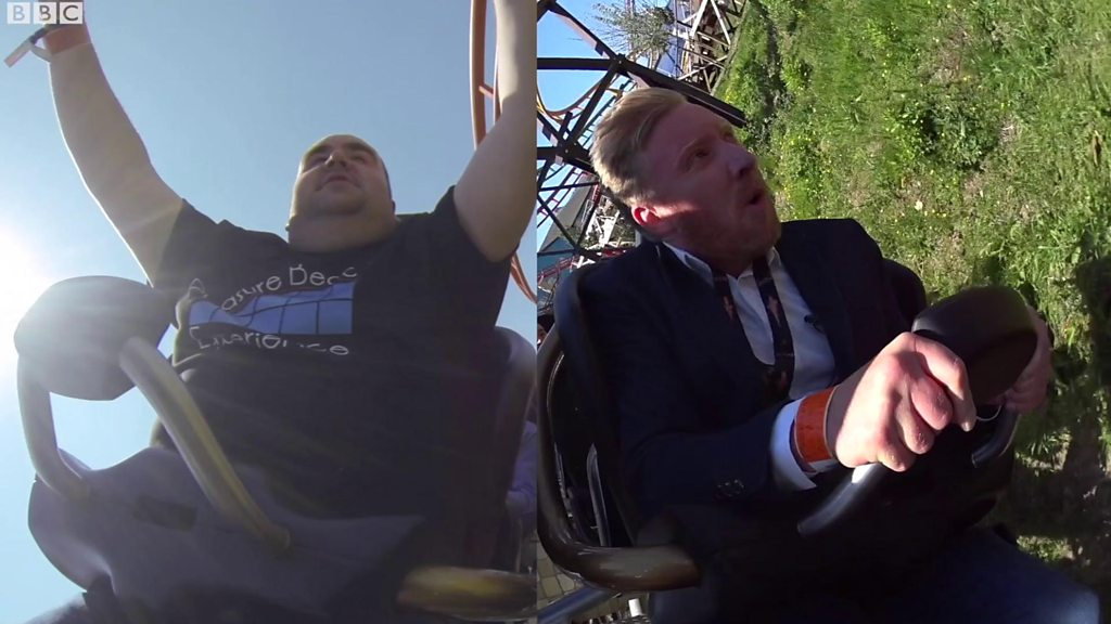 BBC reporter on Blackpool's ICON ride with rollercoaster fan