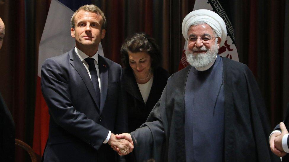 Emmanuel Macron and Hassan Rouhani