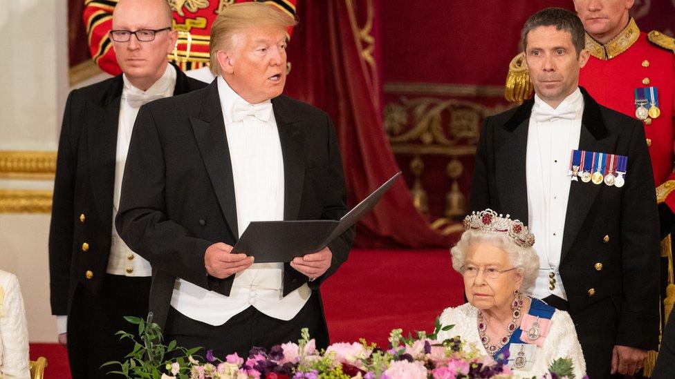 Donald Trump making a speech at the state banquet
