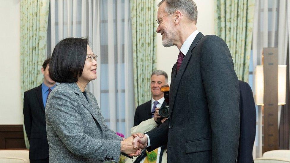 蔡英文在台北總統府會見美國在台協會(AIT)台北辦事處處長酈英傑(Brent Christensen)。