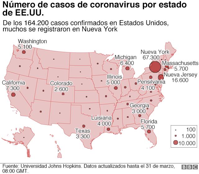 mapa con casos de EEUU