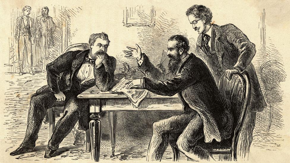 Ilustración de James Fisk (izq) y Jay Gould planeando cómo acaparar el mercado del oro en 1869.