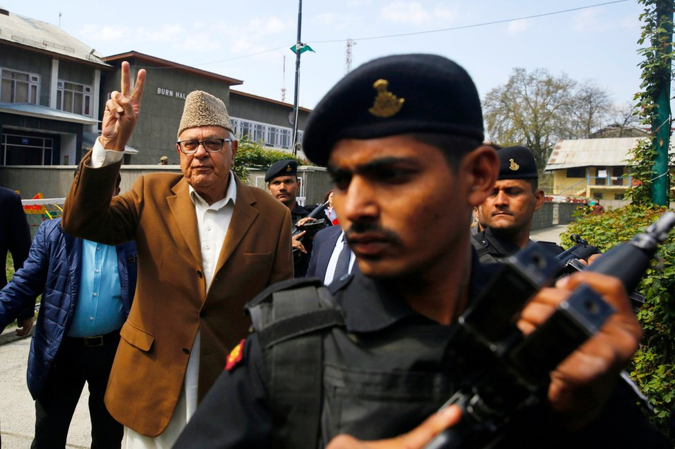 National Conference (NC) President and three-time chief minister of Indian Kashmir, Farooq Abdullah, who is one of the contesting candidates, arrives at a polling station to cast his vote during parliamentary by-elections in Srinagar, the summer capital of Indian Kashmir, 9 April 2017.