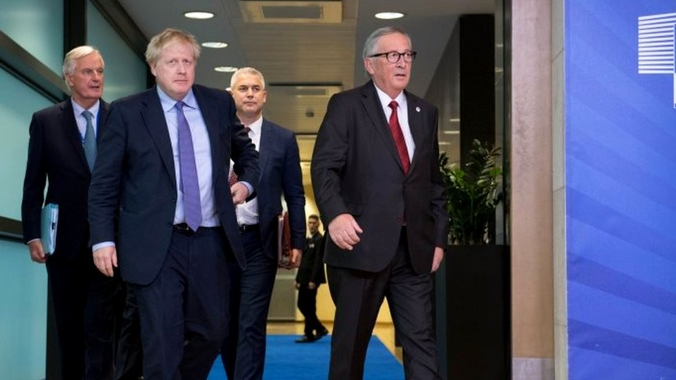 Michel Barnier, Boris Johnson, Stephen Barclay and Jean-Claude Juncker