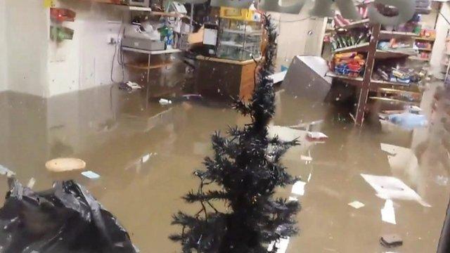 Flooded shop in Glenridding