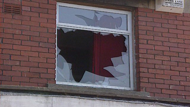 A smashed window in Wilson Road, Ely, in August 1991