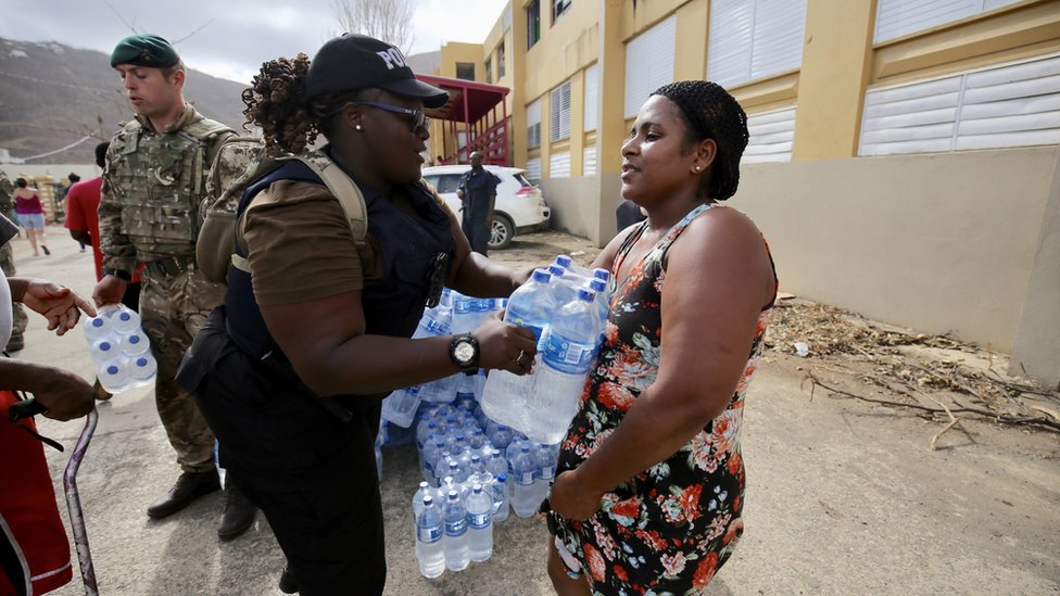 Water being given to residents in the British Virgin Islands