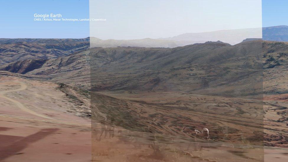إحدى الصور من الفيديو طابقت صورة ثلاثية الأبعاد للمنطقة