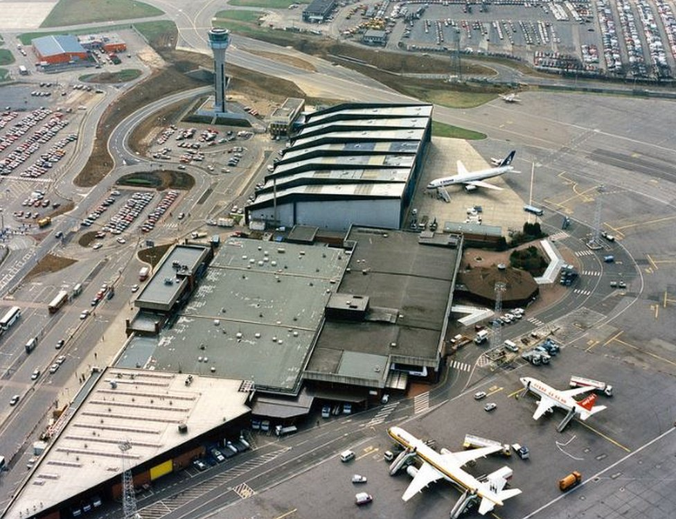 Aerial view of London Luton airport in the 1990s