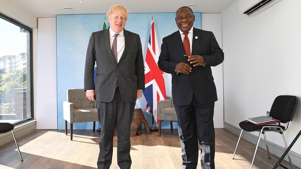 約翰遜首相周日第一項正式議程是與南非總統拉馬福薩(Cyril Ramaphosa)會面