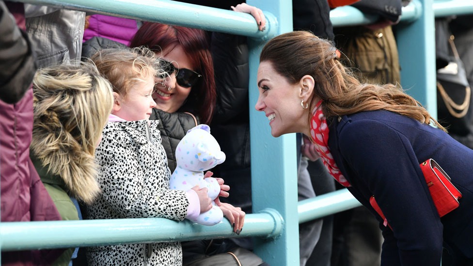 Duchess of Cambridge meeting parents and children in Mumbles