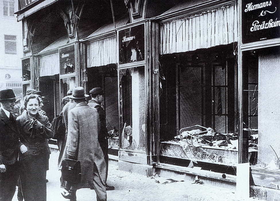Smashed up Jewish shops in Berlin after Kristallnacht