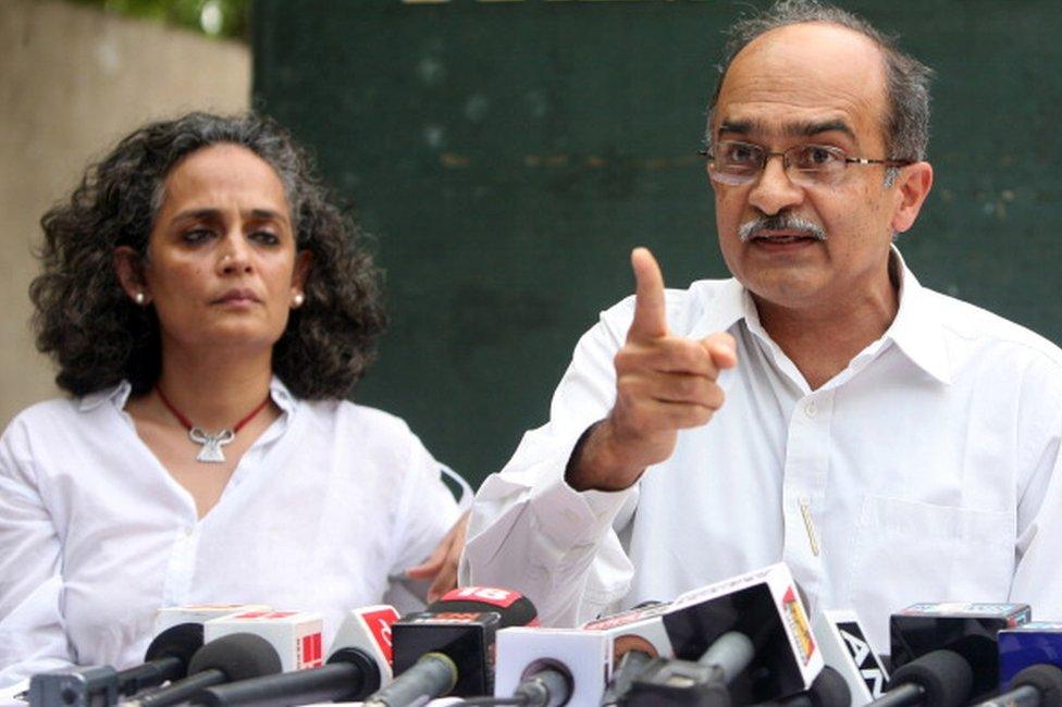 Prashant Bhushan and Arundhati Roy