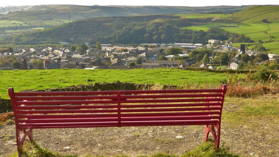 Bench dedicated to Dr Eugenie Hilda Dorothy Cheesmond at Top O Slate above Haslingden