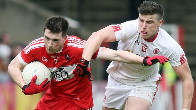 Action from Derry against Tyrone in the Ulster Championship