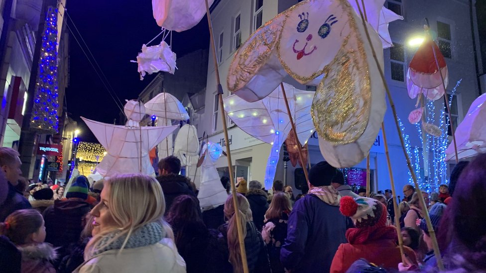 Crowds and lantern parade