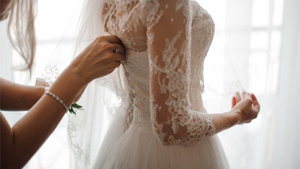 Wooden wedding dress