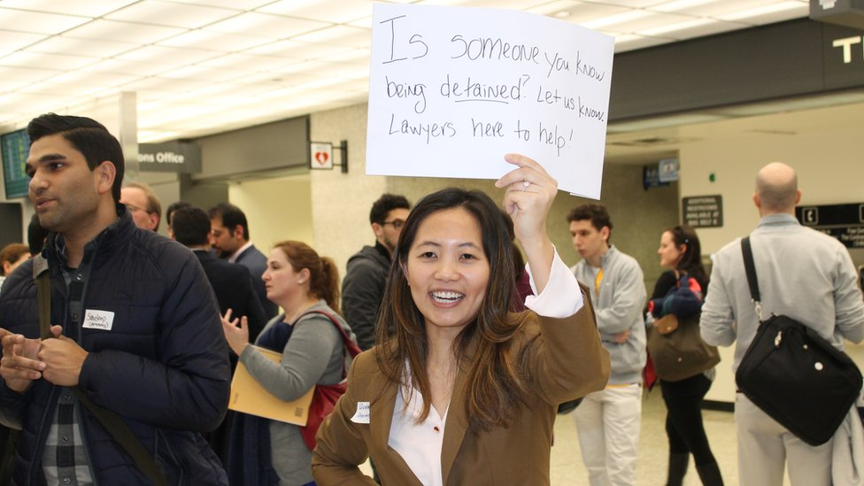 Lawyers gathered at Dulles airport, Virginia, to represent those facing travel bans